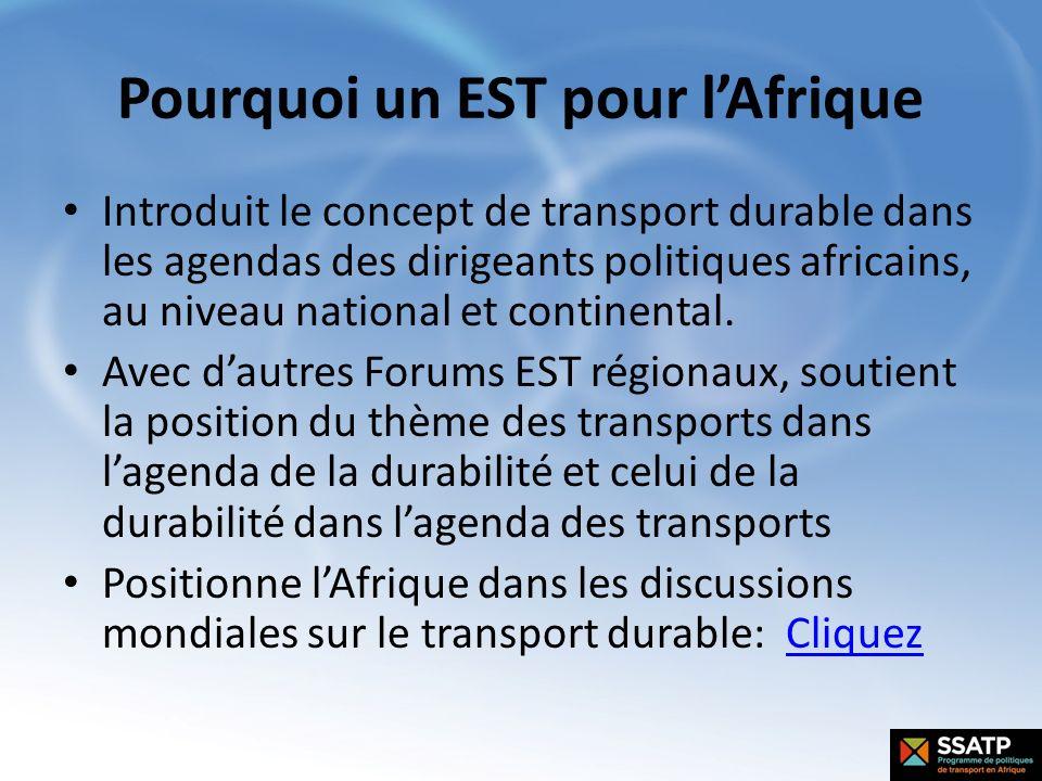 Pourquoi un EST pour lAfrique Introduit le concept de transport durable dans les agendas des dirigeants politiques africains, au niveau national et co