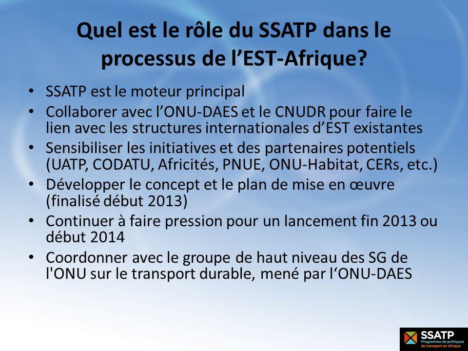 Quel est le rôle du SSATP dans le processus de lEST-Afrique? SSATP est le moteur principal Collaborer avec lONU-DAES et le CNUDR pour faire le lien av