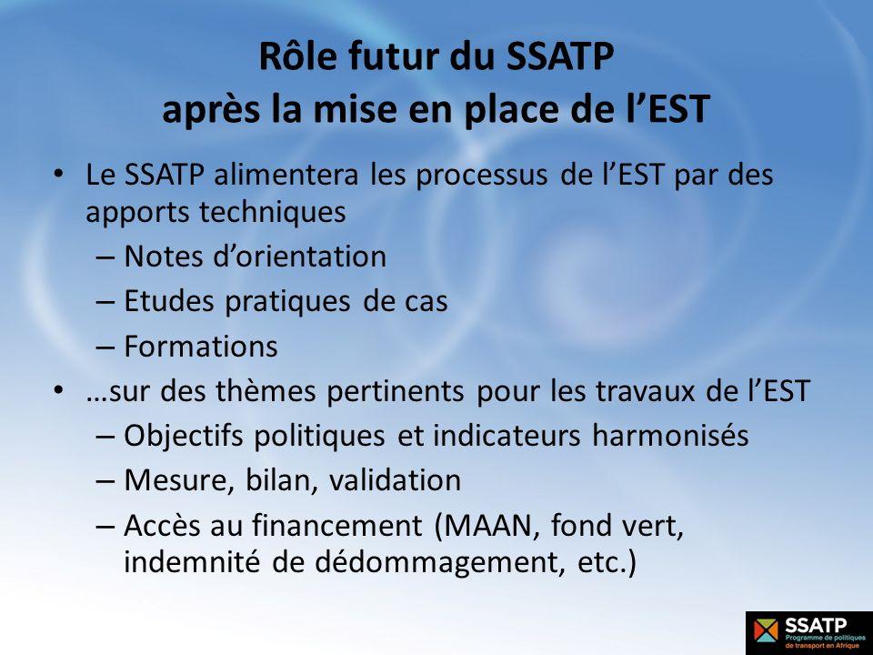 Rôle futur du SSATP après la mise en place de lEST Le SSATP alimentera les processus de lEST par des apports techniques – Notes dorientation – Etudes
