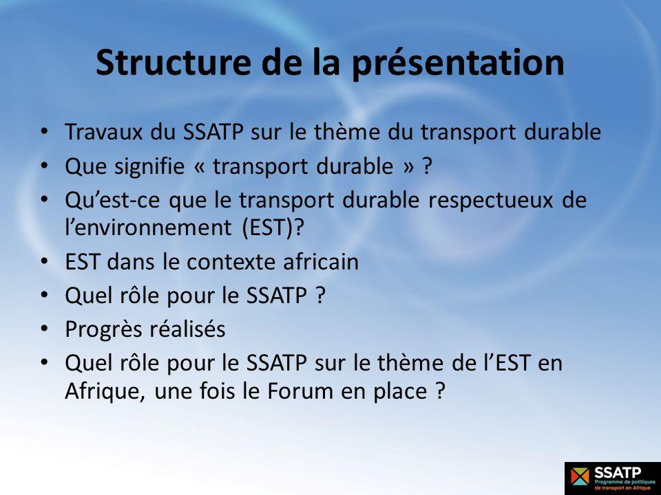 Structure de la présentation Travaux du SSATP sur le thème du transport durable Que signifie « transport durable » ? Quest-ce que le transport durable