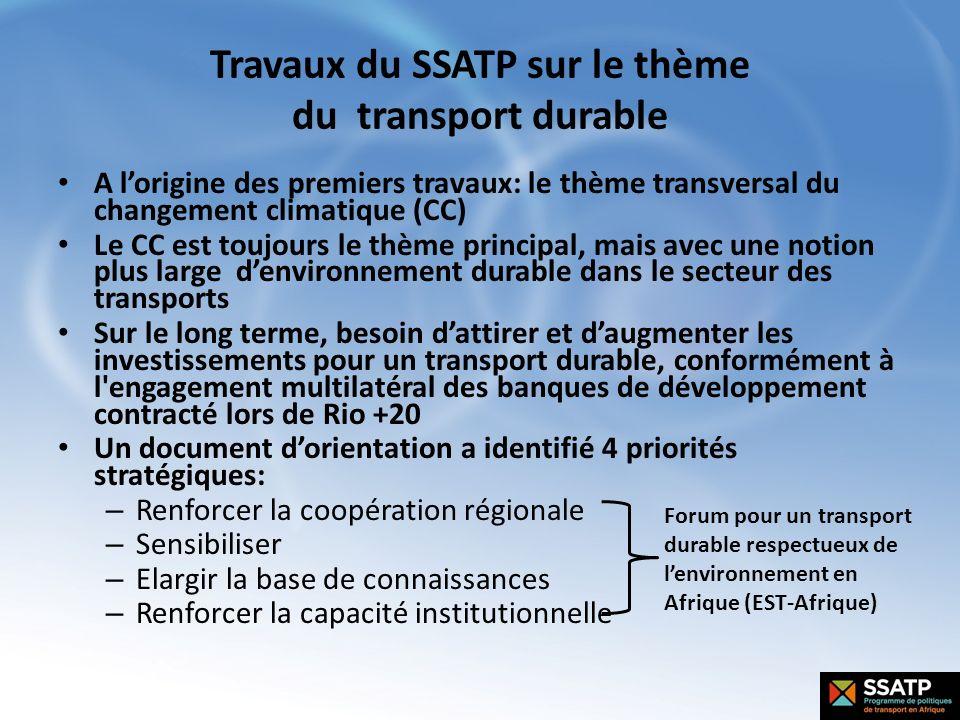 Travaux du SSATP sur le thème du transport durable A lorigine des premiers travaux: le thème transversal du changement climatique (CC) Le CC est toujo