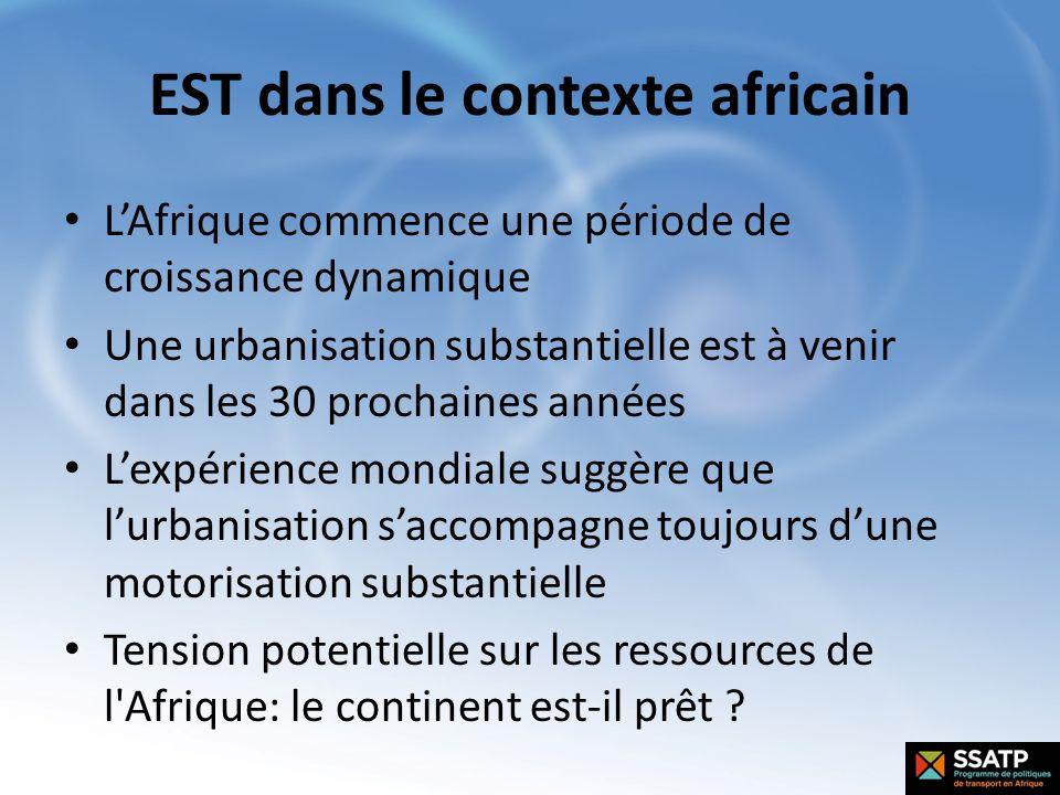 EST dans le contexte africain LAfrique commence une période de croissance dynamique Une urbanisation substantielle est à venir dans les 30 prochaines