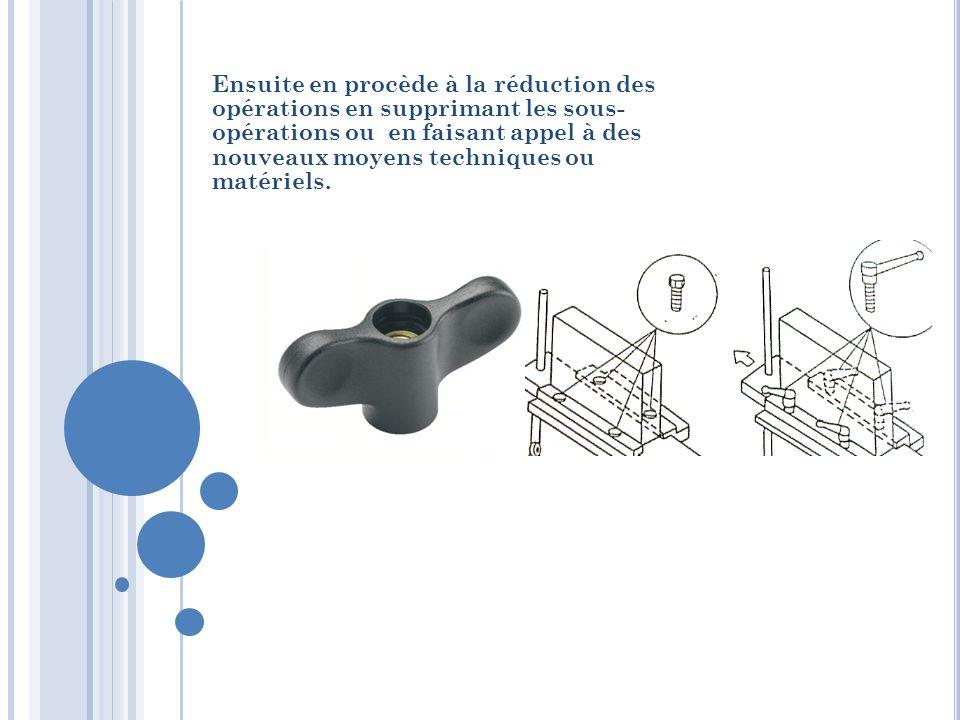 Ensuite en procède à la réduction des opérations en supprimant les sous- opérations ou en faisant appel à des nouveaux moyens techniques ou matériels.