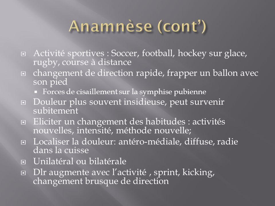 Activité sportives : Soccer, football, hockey sur glace, rugby, course à distance changement de direction rapide, frapper un ballon avec son pied Forc