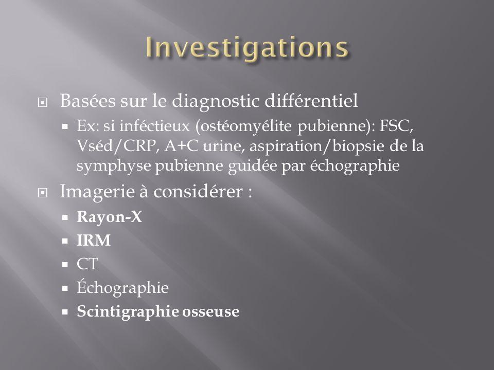 Basées sur le diagnostic différentiel Ex: si inféctieux (ostéomyélite pubienne): FSC, Vséd/CRP, A+C urine, aspiration/biopsie de la symphyse pubienne