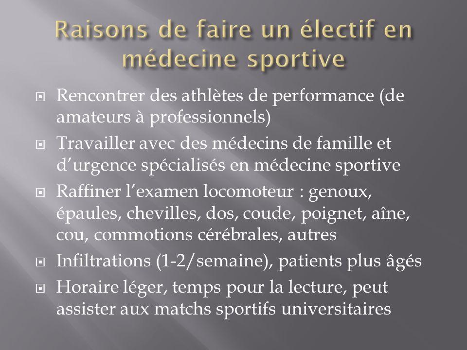 Rencontrer des athlètes de performance (de amateurs à professionnels) Travailler avec des médecins de famille et durgence spécialisés en médecine spor
