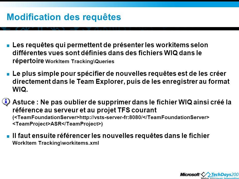 Modification des requêtes Les requêtes qui permettent de présenter les workitems selon différentes vues sont définies dans des fichiers WIQ dans le ré