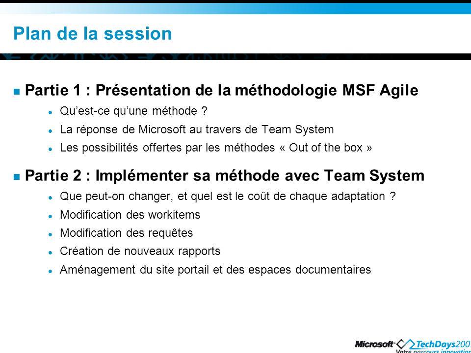Plan de la session Partie 1 : Présentation de la méthodologie MSF Agile Quest-ce quune méthode ? La réponse de Microsoft au travers de Team System Les