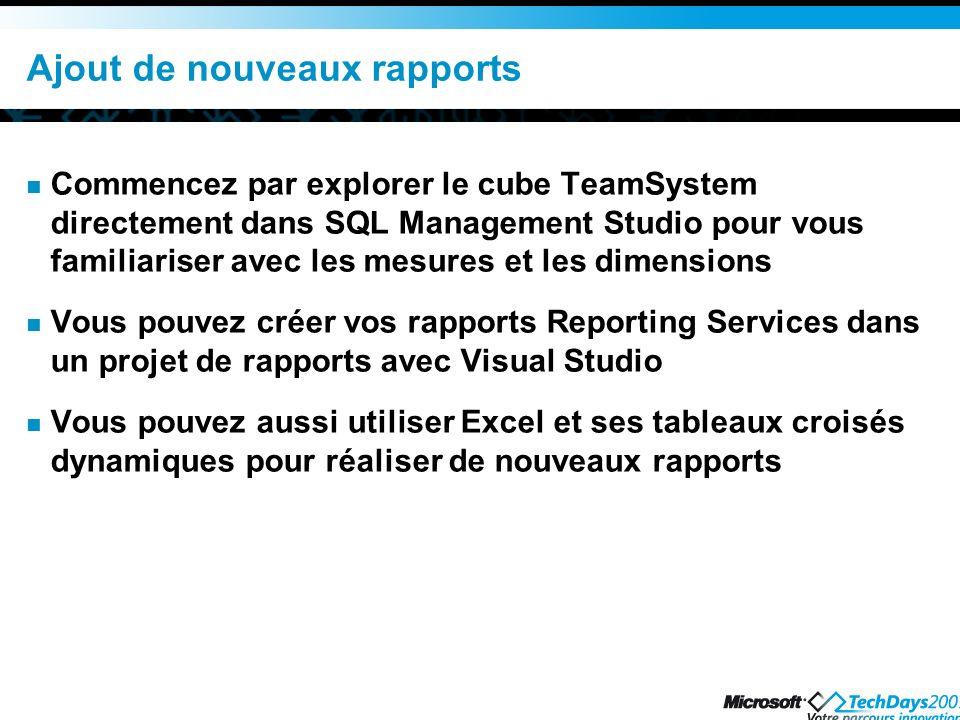 Ajout de nouveaux rapports Commencez par explorer le cube TeamSystem directement dans SQL Management Studio pour vous familiariser avec les mesures et