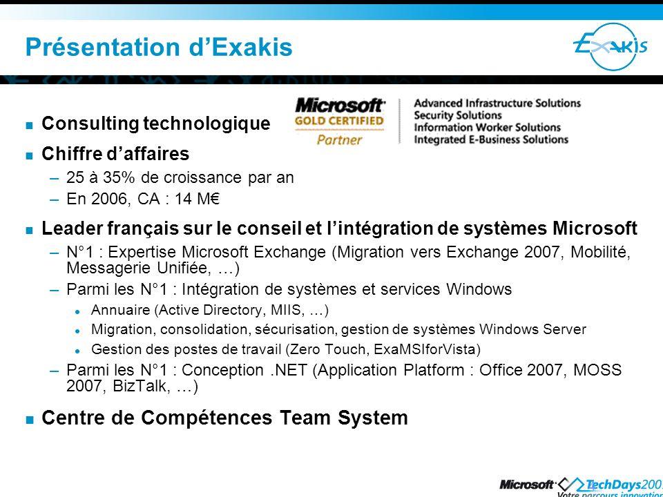 4 Consulting technologique Chiffre daffaires –25 à 35% de croissance par an –En 2006, CA : 14 M Leader français sur le conseil et lintégration de syst