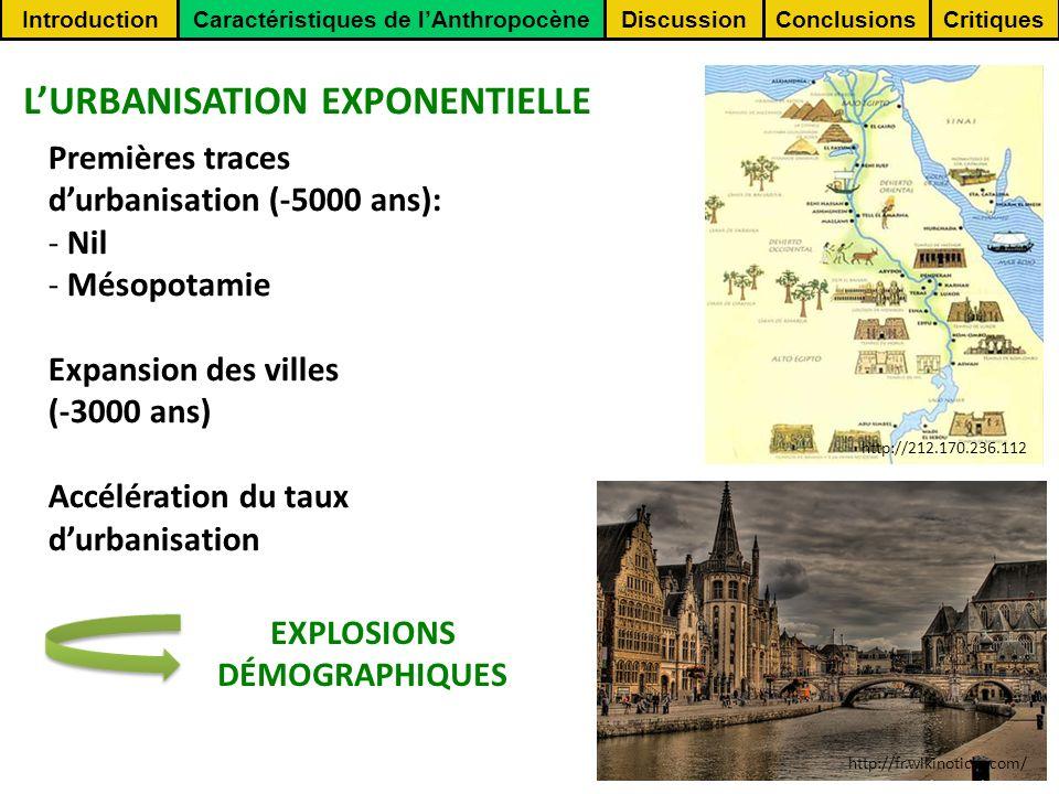 ConclusionsCritiquesDiscussionIntroductionCaractéristiques de lAnthropocène EXPLOSIONS DÉMOGRAPHIQUES Populations humaines REVOLUTION INDUSTRIELLE http://www.corbisimages.com/ http://www.top10.warket.net http://shatrunjaya.uniterre.com