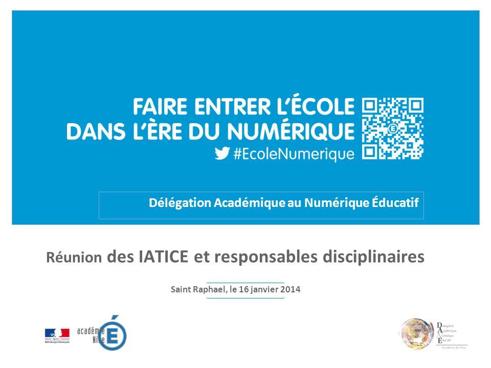 Délégation Académique au Numérique Éducatif Réunion des IATICE et responsables disciplinaires Saint Raphael, le 16 janvier 2014