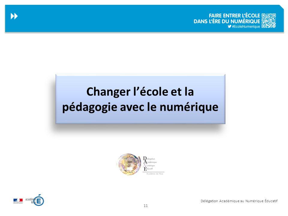 11 Délégation Académique au Numérique Éducatif Changer lécole et la pédagogie avec le numérique
