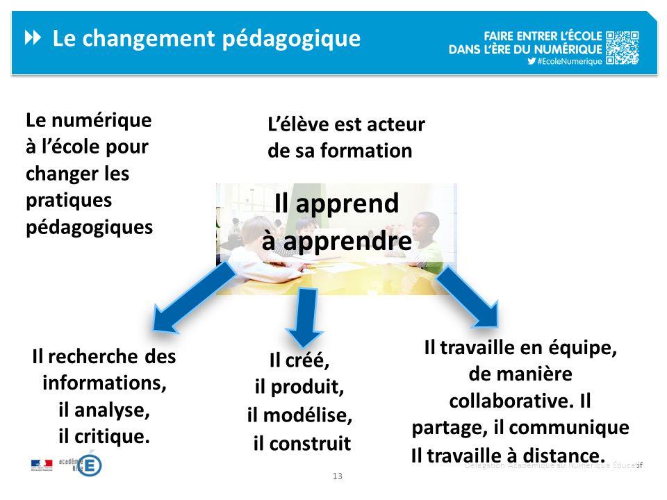 13 Délégation Académique au Numérique Éducatif Le changement pédagogique Le numérique à lécole pour changer les pratiques pédagogiques Lélève est acte