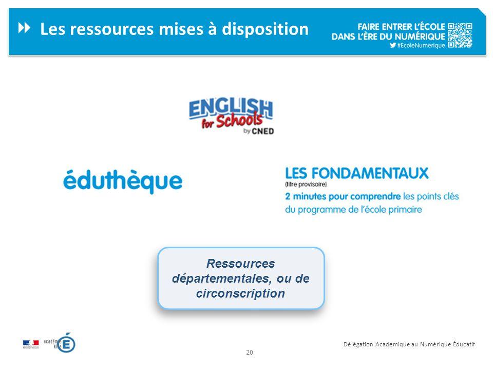20 Délégation Académique au Numérique Éducatif Les ressources mises à disposition Ressources départementales, ou de circonscription