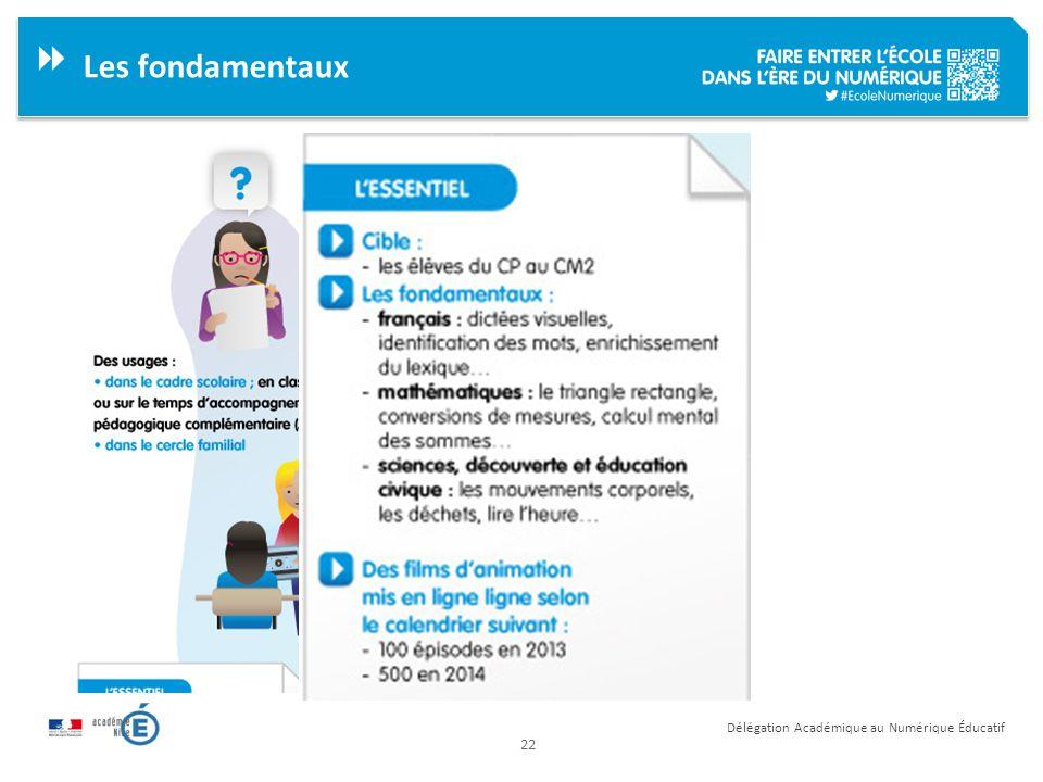 22 Délégation Académique au Numérique Éducatif Les fondamentaux