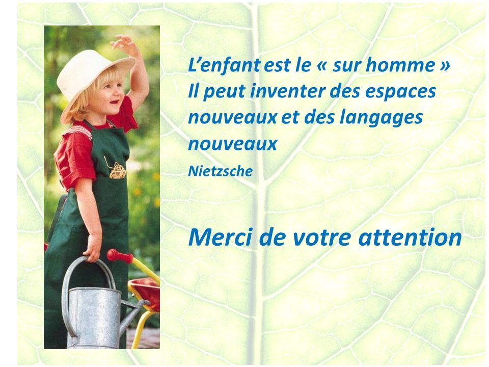 100 Merci de votre attention Lenfant est le « sur homme » Il peut inventer des espaces nouveaux et des langages nouveaux Nietzsche