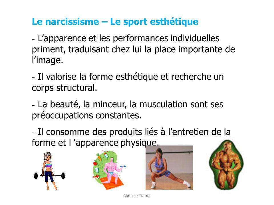 Alain Le Tutour Le narcissisme – Le sport esthétique - Lapparence et les performances individuelles priment, traduisant chez lui la place importante d