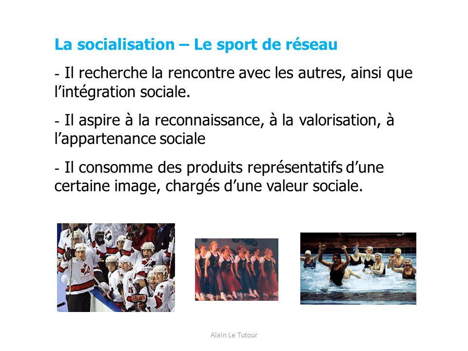 Alain Le Tutour La socialisation – Le sport de réseau - Il recherche la rencontre avec les autres, ainsi que lintégration sociale. - Il aspire à la re