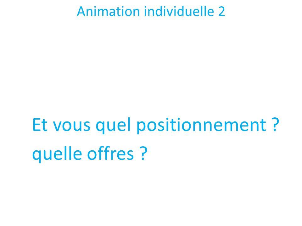 Animation individuelle 2 Et vous quel positionnement ? quelle offres ?