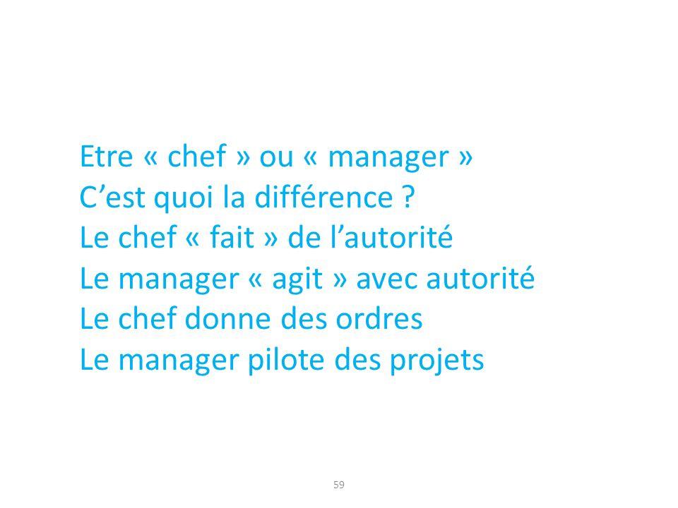 59 Etre « chef » ou « manager » Cest quoi la différence ? Le chef « fait » de lautorité Le manager « agit » avec autorité Le chef donne des ordres Le