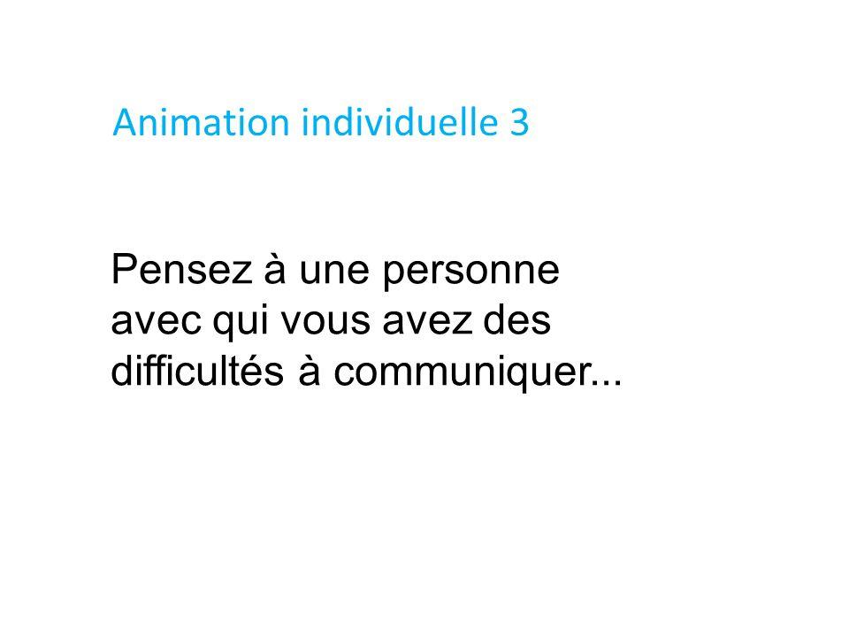 Pensez à une personne avec qui vous avez des difficultés à communiquer... Animation individuelle 3