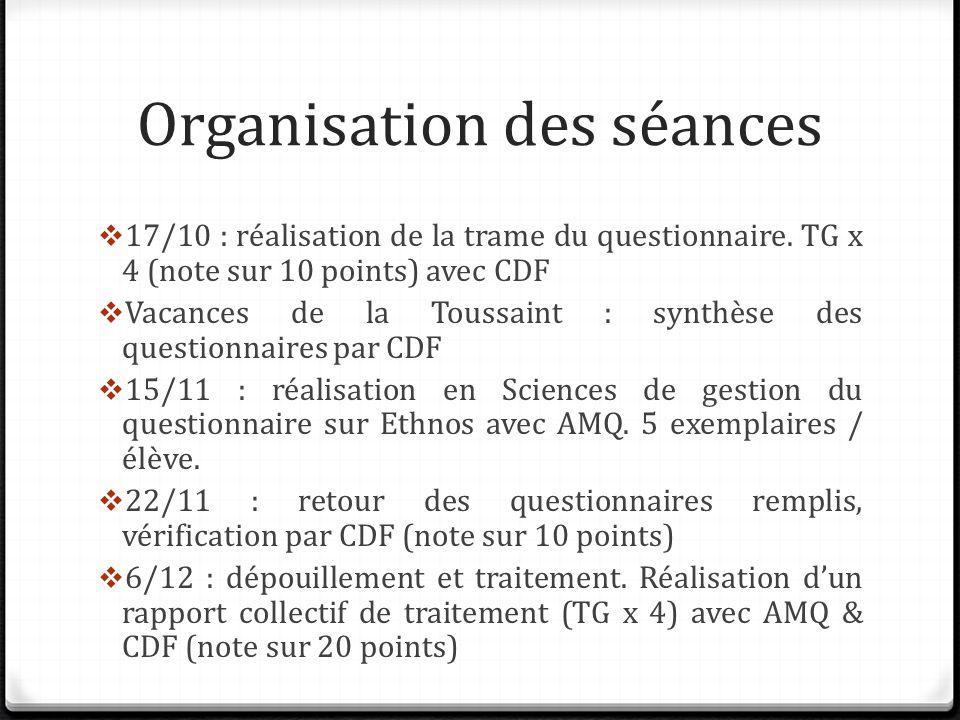 Les thématiques du questionnaire TG x 4, rédigez des questions pour chacune des thématiques suivantes : (Où .