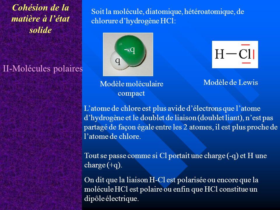 Cohésion de la matière à létat solide II-Molécules polaires Modèle de Lewis Modèle moléculaire compact Soit la molécule, diatomique, hétéroatomique, d