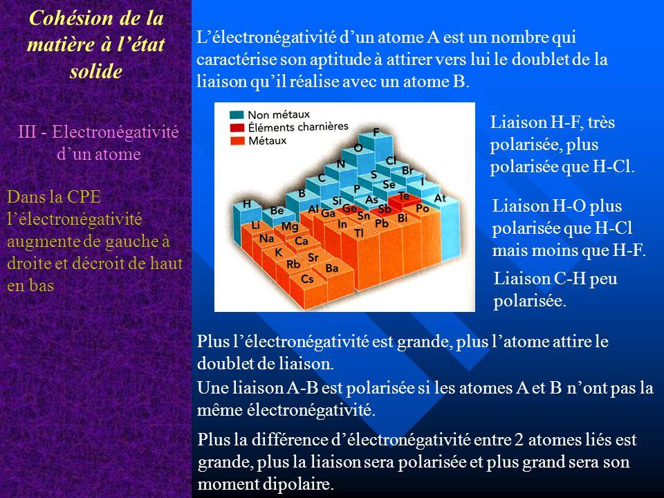 Cohésion de la matière à létat solide III - Electronégativité dun atome Lélectronégativité dun atome A est un nombre qui caractérise son aptitude à at