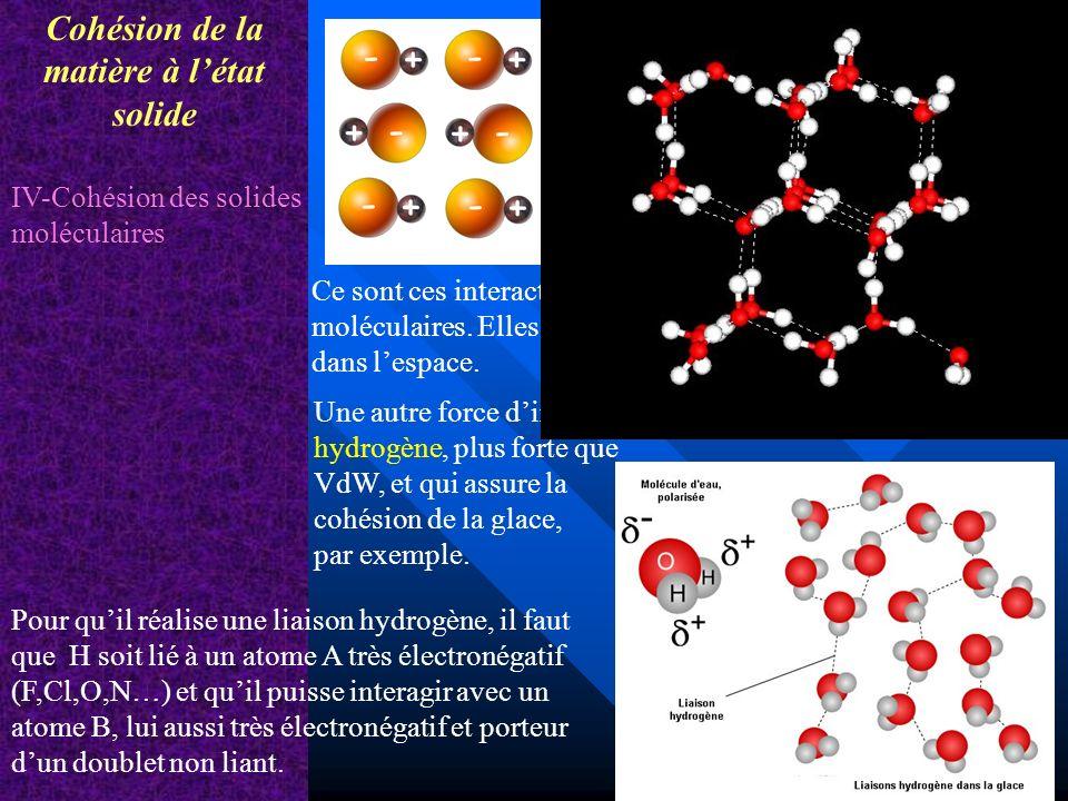 Cohésion de la matière à létat solide V - Les 3 états physiques de la matière Energie molaire de changement détat en J.mol -1 Changements détat physique Lénergie molaire de changement détat est lénergie fournie ou cédée par mole de corps pur pour changer détat.