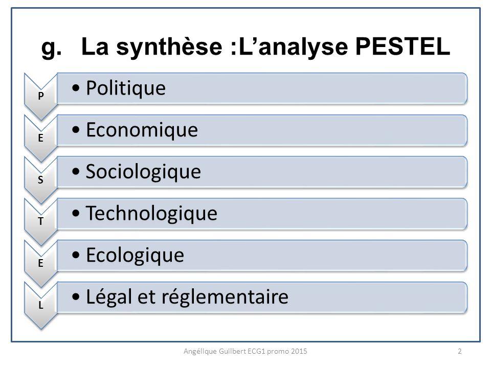 g.La synthèse :Lanalyse PESTEL P Politique E Economique S Sociologique T Technologique E Ecologique L Légal et réglementaire Angélique Guilbert ECG1 promo 20152