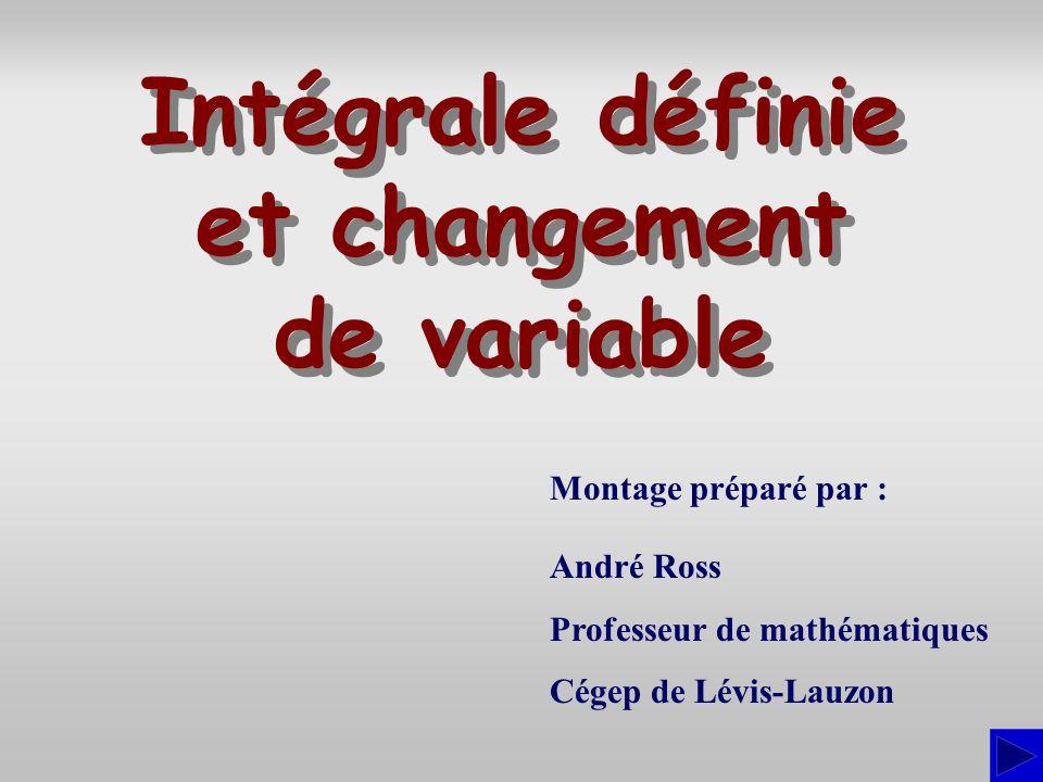 Montage préparé par : André Ross Professeur de mathématiques Cégep de Lévis-Lauzon Intégrale définie et changement de variable Intégrale définie et ch
