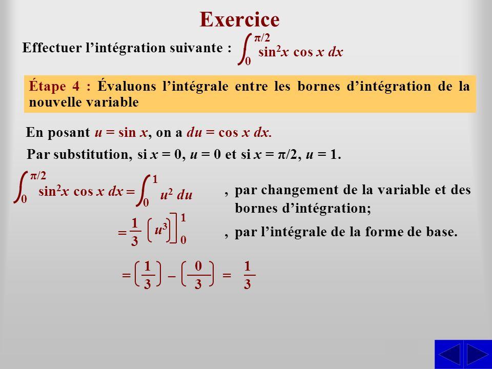 sin 2 x cos x dx Exercice Effectuer lintégration suivante : Étape 1 : Lintégrale nest pas sous une forme directement intégrable. La forme de base appa