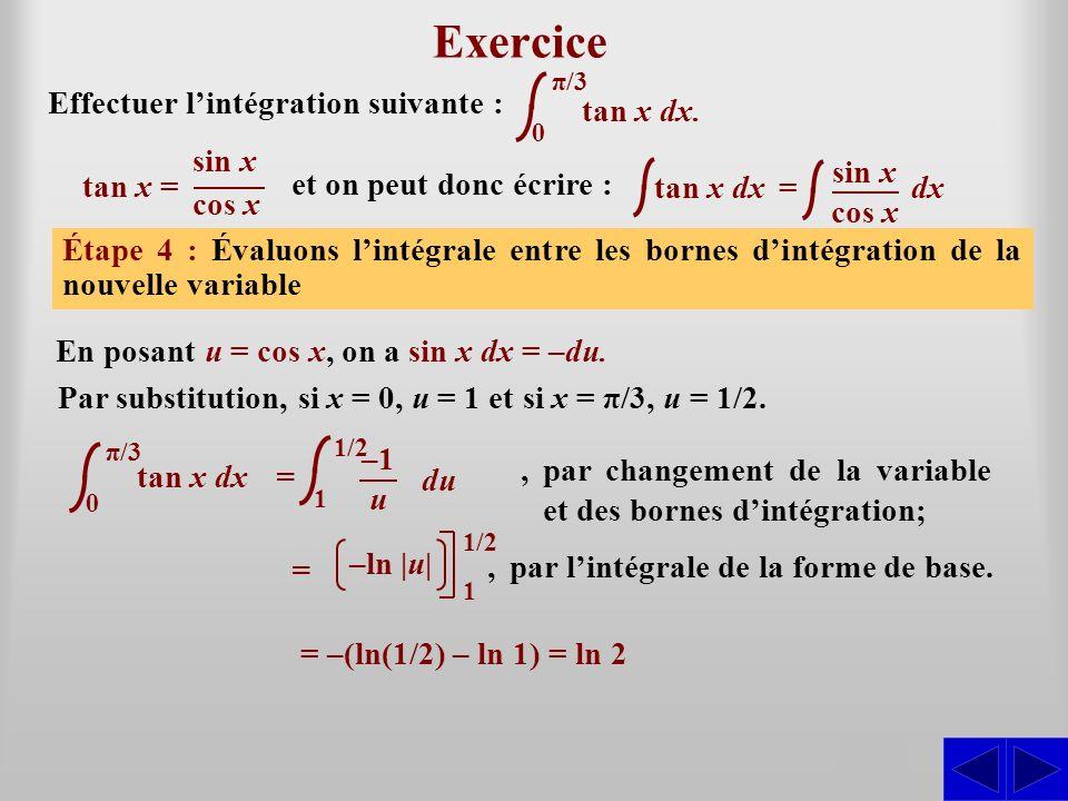 tan x dx Exercice Effectuer lintégration suivante : Étape 1 : Lintégrale nest pas sous une forme directement intégrable. La forme de base apparentée s