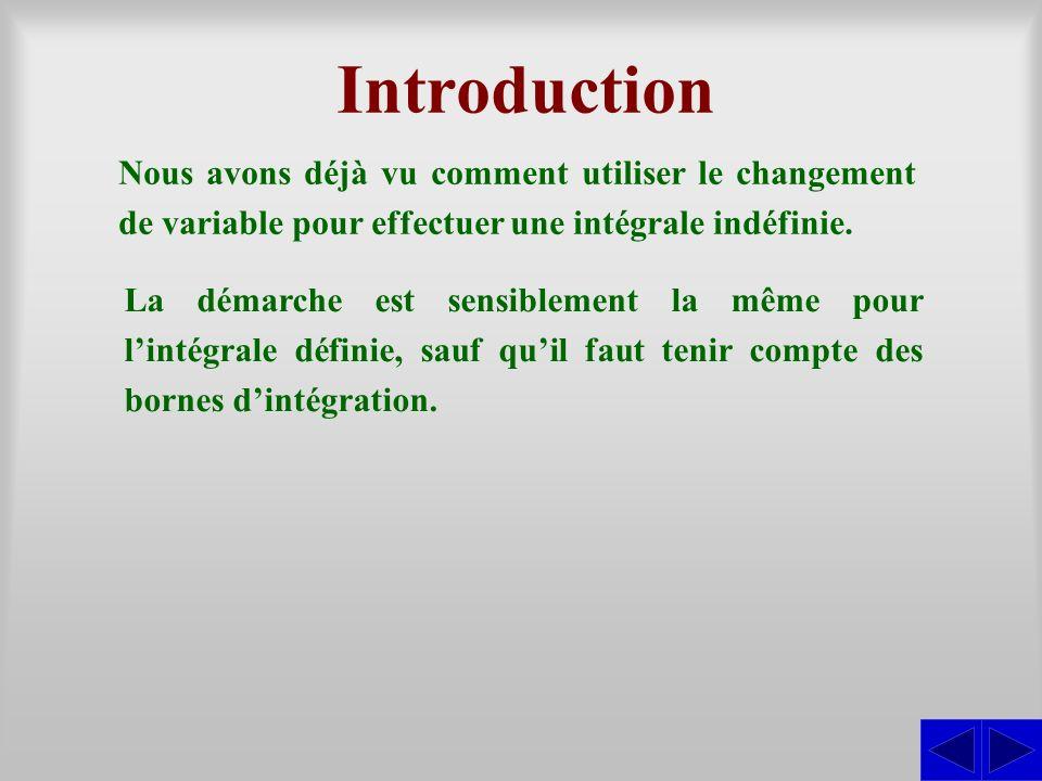 Introduction Nous avons déjà vu comment utiliser le changement de variable pour effectuer une intégrale indéfinie. La démarche est sensiblement la mêm