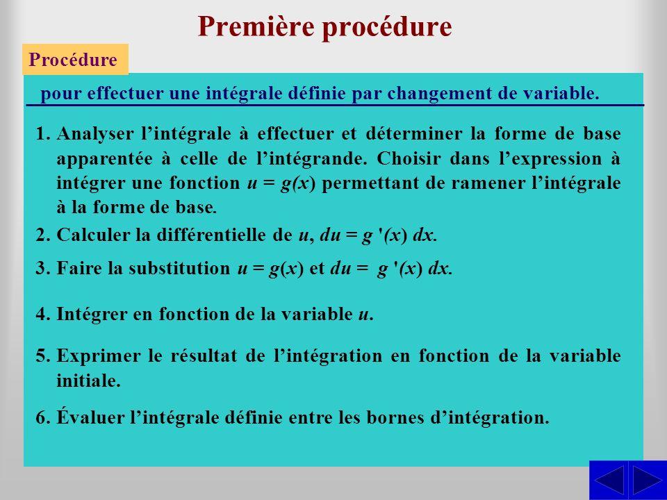 Première procédure Procédure pour effectuer une intégrale définie par changement de variable. 1.Analyser lintégrale à effectuer et déterminer la forme