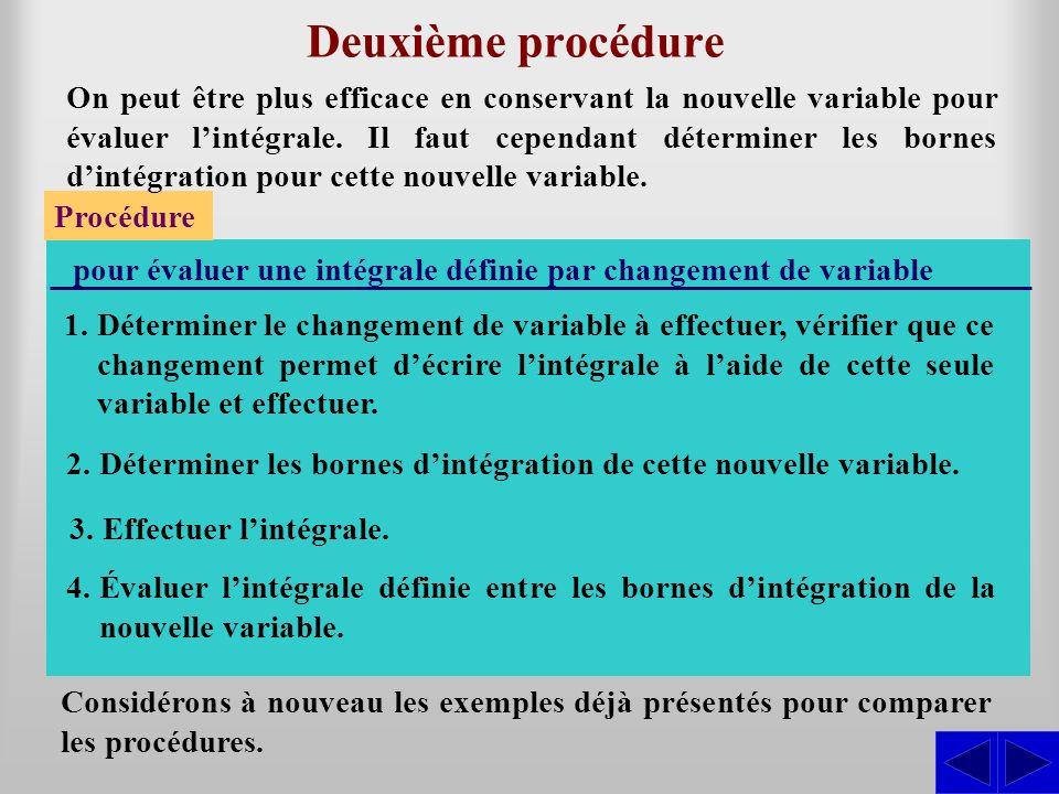 Deuxième procédure Procédure pour évaluer une intégrale définie par changement de variable 2.Déterminer les bornes dintégration de cette nouvelle vari