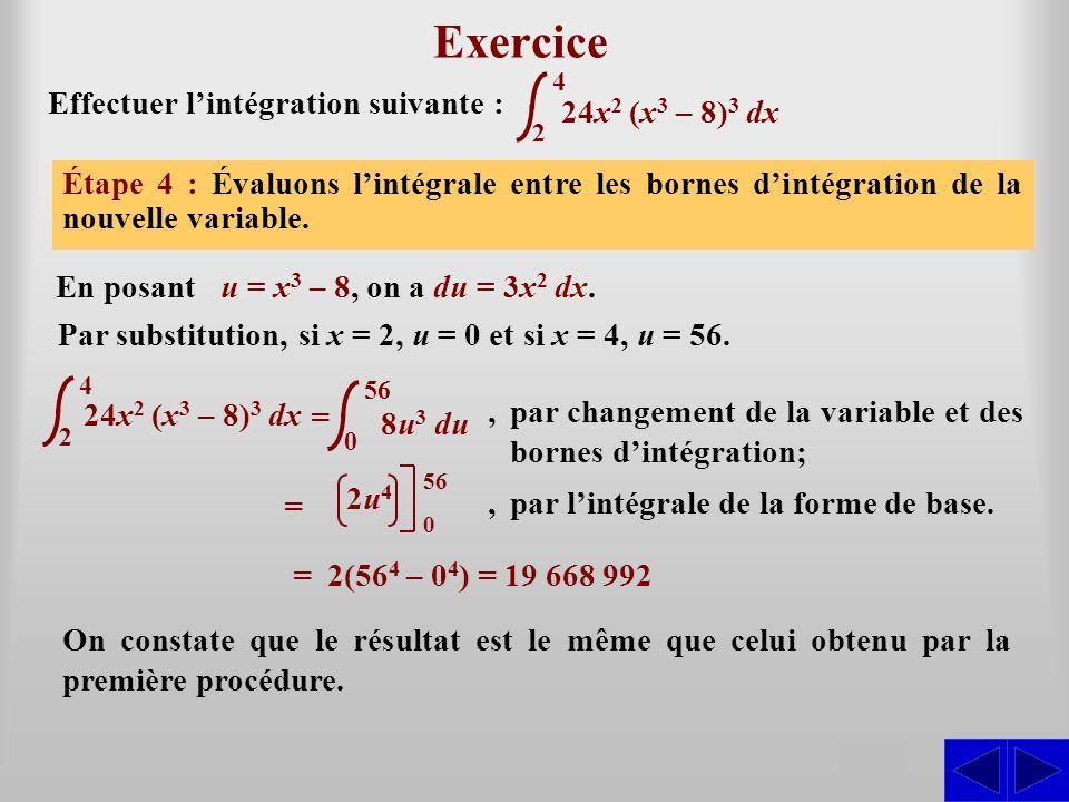 24x 2 (x 3 – 8) 3 dx Exercice Effectuer lintégration suivante : Étape 1 : Lintégrale nest pas sous une forme directement intégrable. La forme de base
