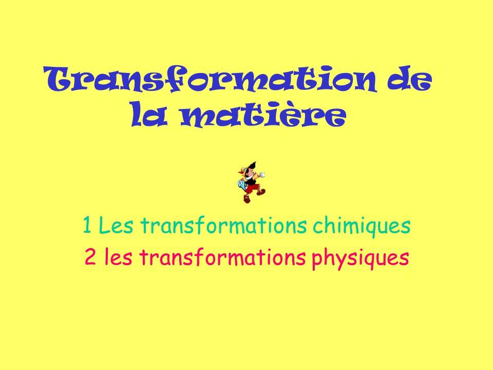 Transformation de la matière 1 Les transformations chimiques 2 les transformations physiques