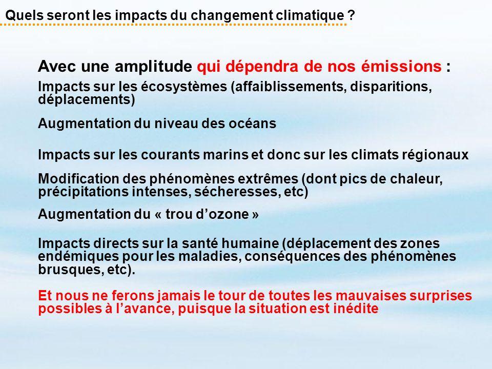 Avec une amplitude qui dépendra de nos émissions : Impacts sur les écosystèmes (affaiblissements, disparitions, déplacements) Augmentation du niveau d