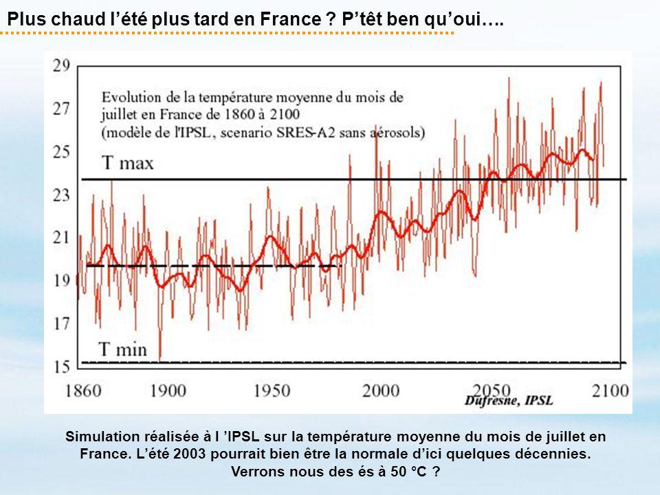 Plus chaud lété plus tard en France ? Ptêt ben quoui…. Simulation réalisée à l IPSL sur la température moyenne du mois de juillet en France. Lété 2003