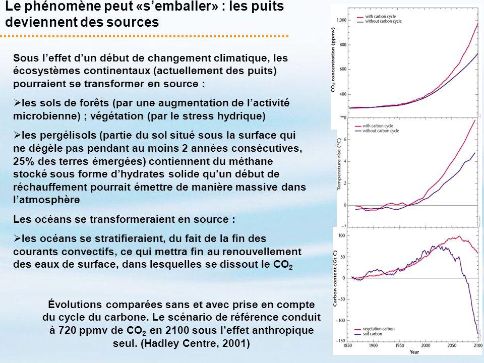 Sous leffet dun début de changement climatique, les écosystèmes continentaux (actuellement des puits) pourraient se transformer en source : les sols d