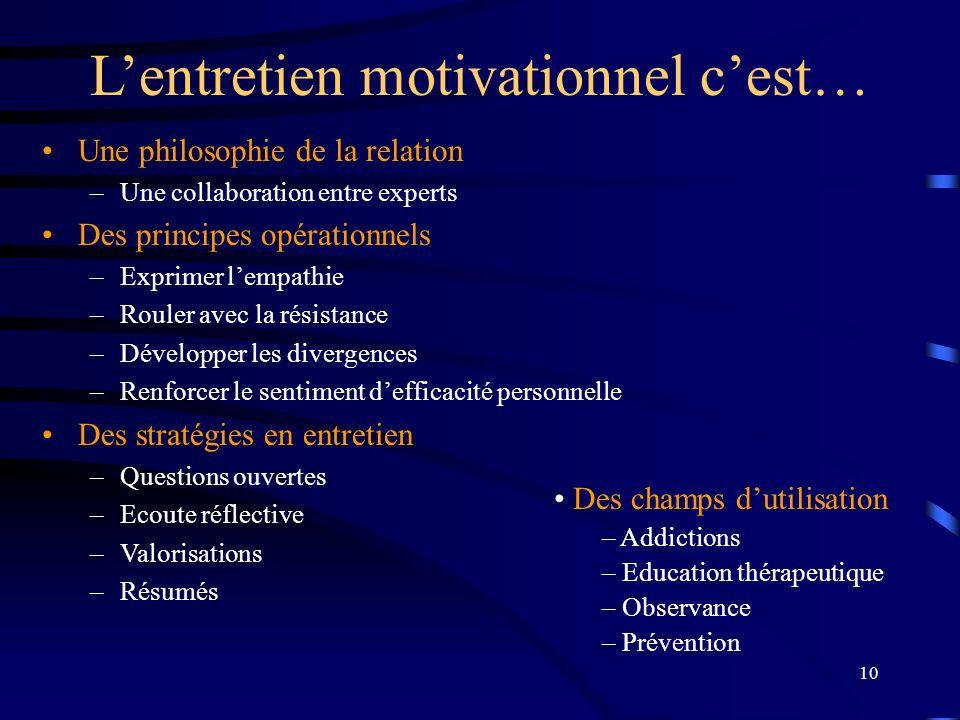 10 Lentretien motivationnel cest… Une philosophie de la relation –Une collaboration entre experts Des principes opérationnels –Exprimer lempathie –Rou