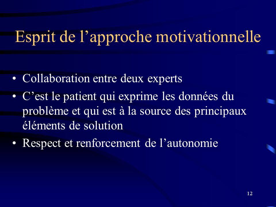 12 Esprit de lapproche motivationnelle Collaboration entre deux experts Cest le patient qui exprime les données du problème et qui est à la source des
