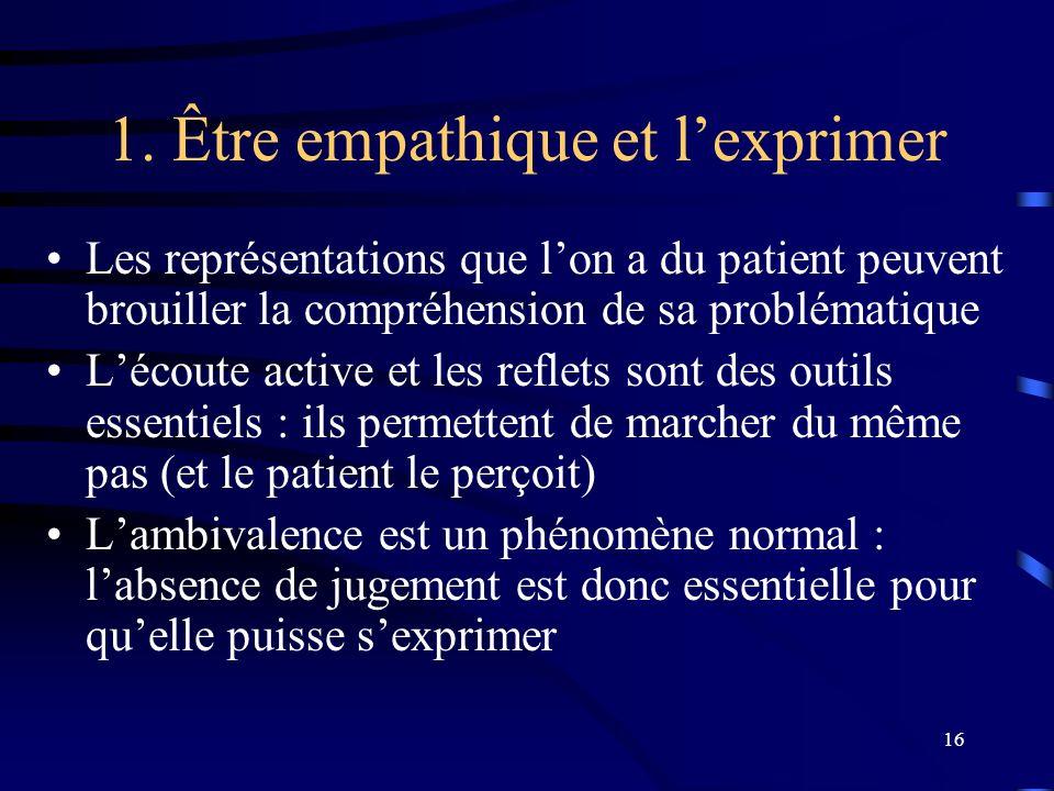 16 1. Être empathique et lexprimer Les représentations que lon a du patient peuvent brouiller la compréhension de sa problématique Lécoute active et l