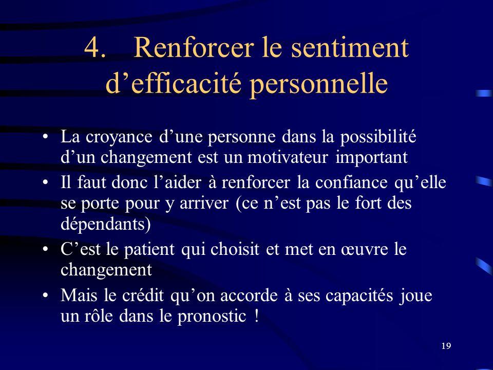 19 4.Renforcer le sentiment defficacité personnelle La croyance dune personne dans la possibilité dun changement est un motivateur important Il faut d
