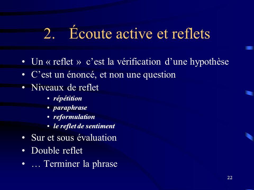 22 2.Écoute active et reflets Un « reflet » cest la vérification dune hypothèse Cest un énoncé, et non une question Niveaux de reflet répétition parap