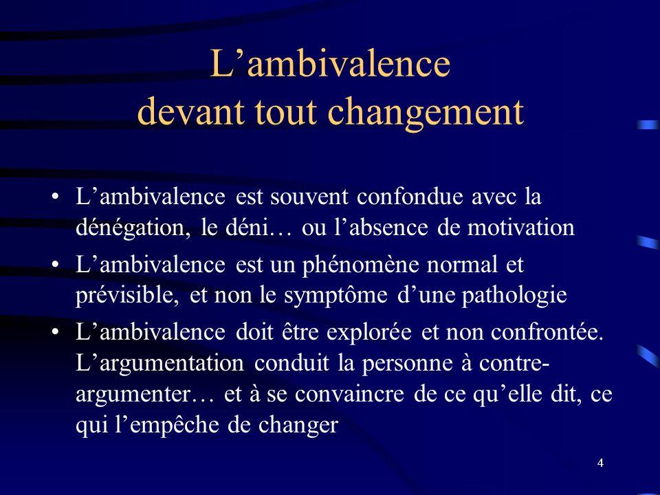 4 Lambivalence devant tout changement Lambivalence est souvent confondue avec la dénégation, le déni… ou labsence de motivation Lambivalence est un phénomène normal et prévisible, et non le symptôme dune pathologie Lambivalence doit être explorée et non confrontée.