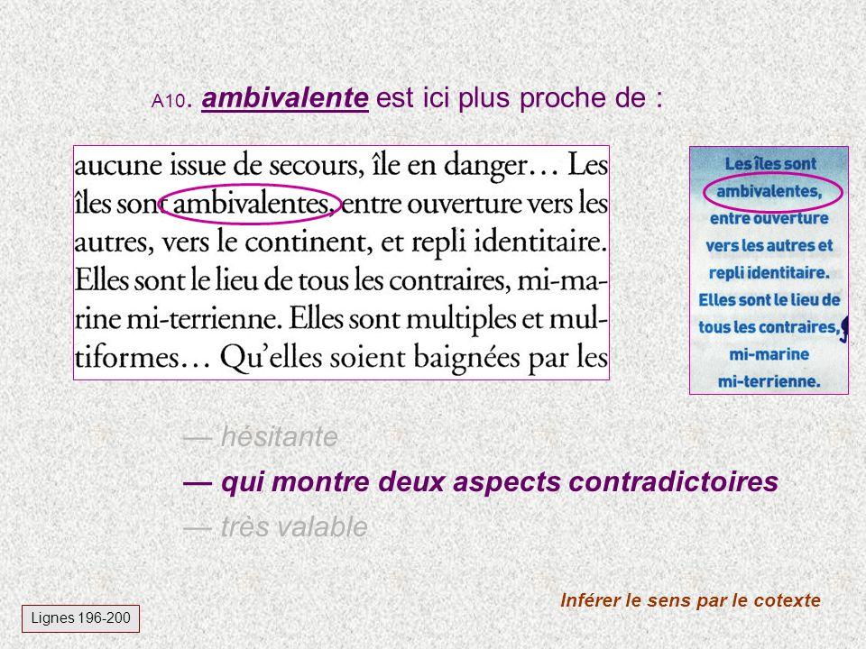 A10. ambivalente est ici plus proche de : Inférer le sens par le cotexte Lignes 196-200 hésitante qui montre deux aspects contradictoires très valable