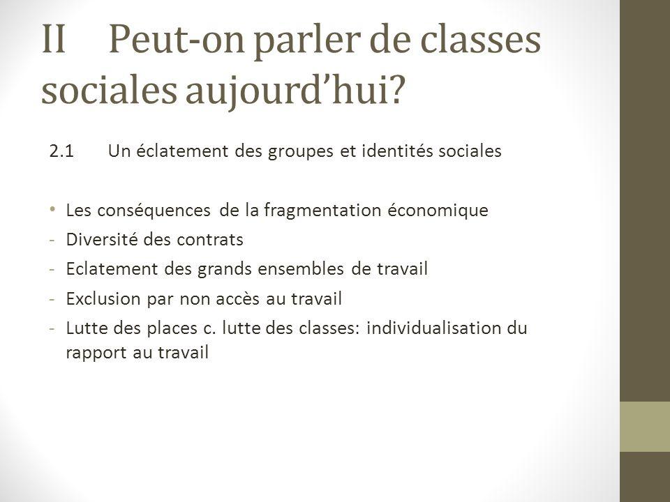 IIPeut-on parler de classes sociales aujourdhui? 2.1Un éclatement des groupes et identités sociales Les conséquences de la fragmentation économique -D